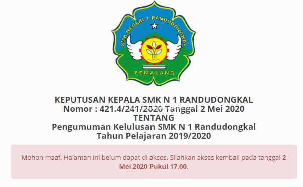 Sambutan Kepala Sekolah-Pengumuman Kelulusan Peserta Didik  2019/2020 SMK N 1 Randudongkal